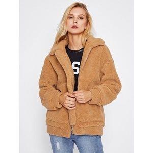 Jackets & Blazers - Camel Collar Plain Oversized Jacket